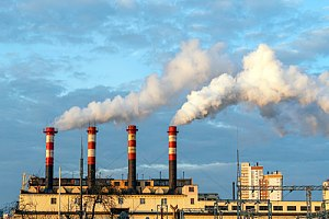 Air pollution being released from factory