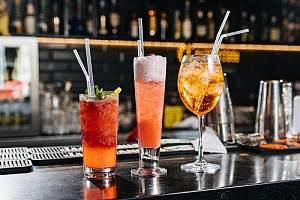 Cocktails sitting on bar