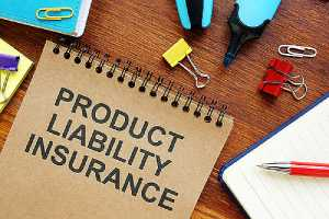 Printed text Product Liability Insurance and other items on a desk