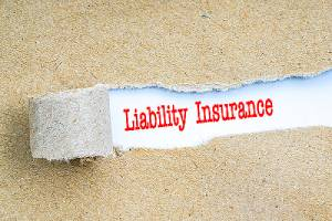 image of liability insurance in red text.