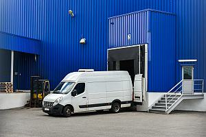 Delivery truck in loading dock
