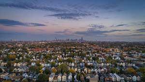 Aerial view of Chicago neighborhood