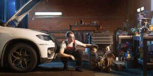 engine tamer auto repair shop concept